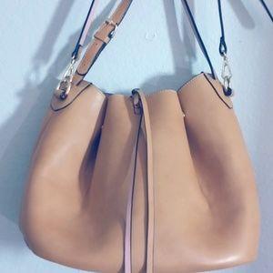 WAREHOUSE Large Bucket Bag TAN/PINK